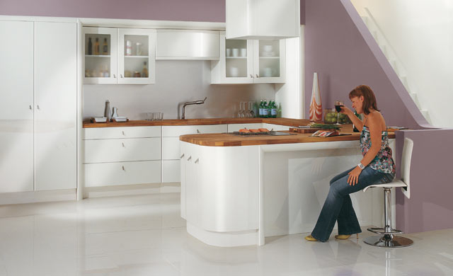 Ultra High Gloss White Fitted Kitchens Kitchen Design Including A